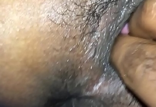 Indian man spying his girlfriend while he fingering her anus and pussy
